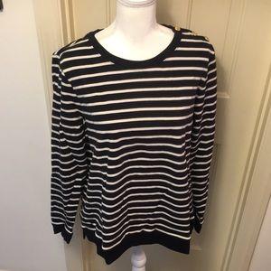 Lands' End Black & White Stripe Shirt NWT
